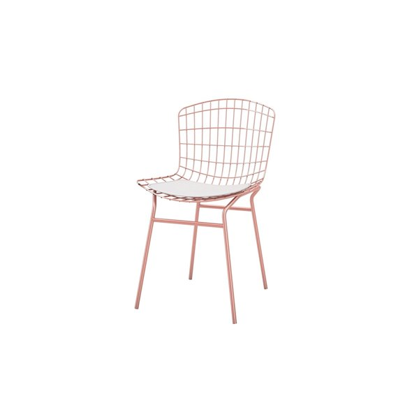 Manhattan Comfort Madeline Dining Chair - 31.89-in - Rose Gold and White