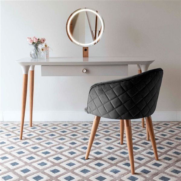 Manhattan Comfort HomeDock Makeup Vanity Table with Kari Chair - Off-White/Black - Set of 2