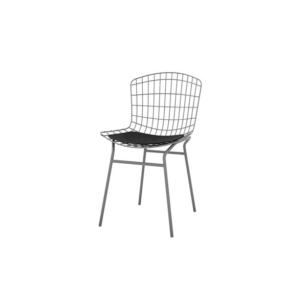 Manhattan Comfort Madeline Dining Chair - 31.89-in - Charcoal Grey and Black