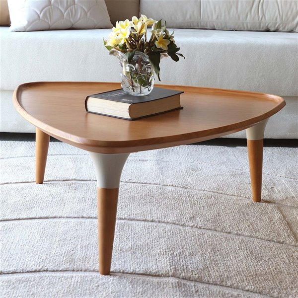 Manhattan Comfort HomeDock Coffee Table - 32.12-in - Cinnamon Brown and Off-White