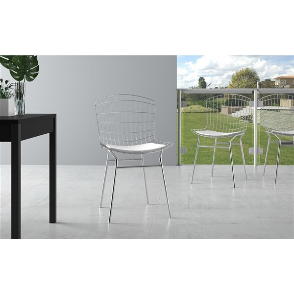 Manhattan Comfort Madeline Dining Chair - 31.89-in - Silver and White - Set of 2