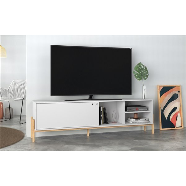 Manhattan Comfort Bowery TV Stand - 72.83-in x 21.02-in - White/Oak