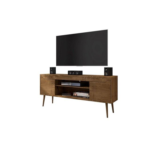 Manhattan Comfort Bradley TV Stand - 62.99-in x 26.57-in - White/Rustic Brown