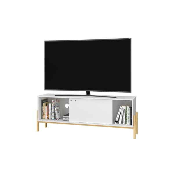 Manhattan Comfort Bowery TV Stand - 55.14-in x 20.27-in - White/Oak