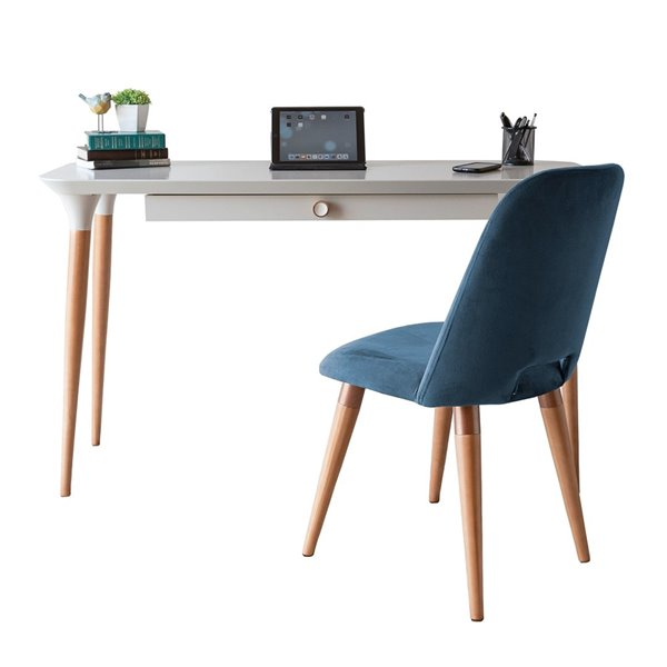 Manhattan Comfort HomeDock and Selina Office Desk with Chair - 53.14-in - Off-White and Blue - 2-Piece