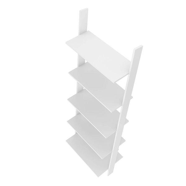 Manhattan Comfort Cooper Ladder Bookcase - 24.8-in x 72.04-in - White