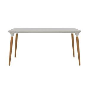 Table de salle à manger HomeDock Manhattan Comfort, 63 po, blanc cassé mat/brun cannelle