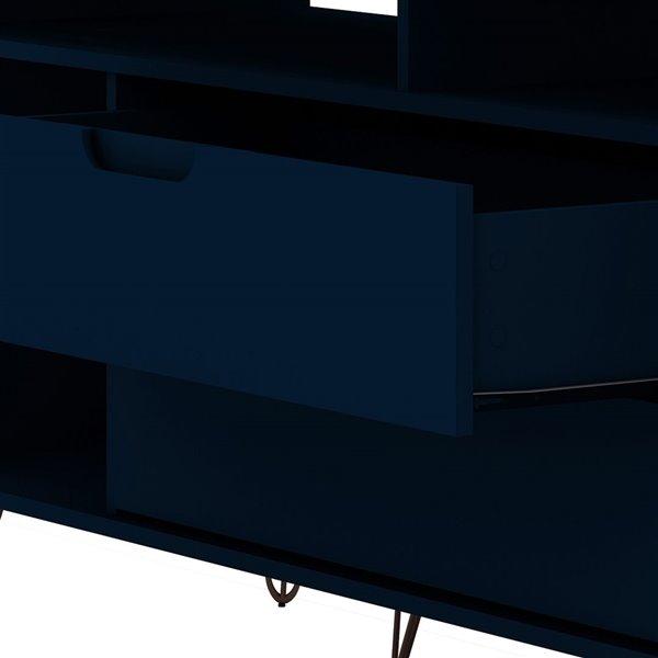 Manhattan Comfort Rockefeller TV Stand - 62.99-in x 26.77-in - Midnight Blue