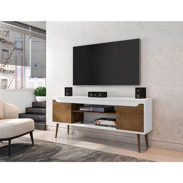 Manhattan Comfort Bradley TV Stand - 62.99-in x 26.57-in - White/Brown