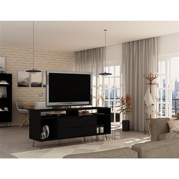 Manhattan Comfort Rockefeller TV Stand - 62.99-in x 26.77-in - Black
