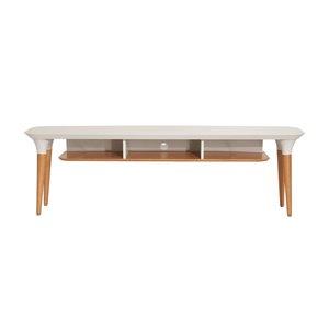Manhattan Comfort HomeDock TV Stand - 62.99-in x 19.56-in - Off-White/Cinnamon Brown