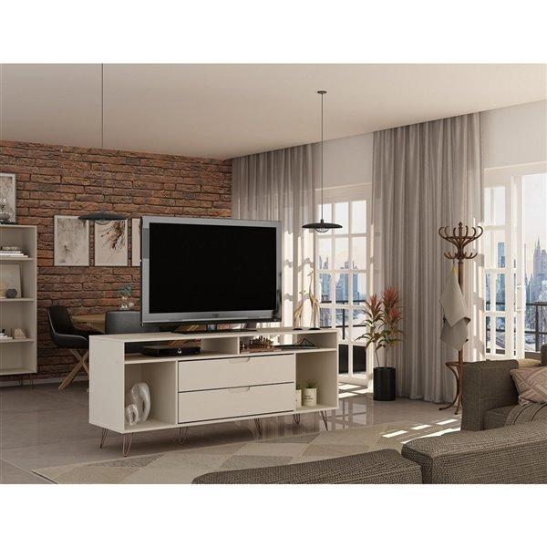 Manhattan Comfort Rockefeller TV Stand - 62.99-in x 26.77-in - Off-White