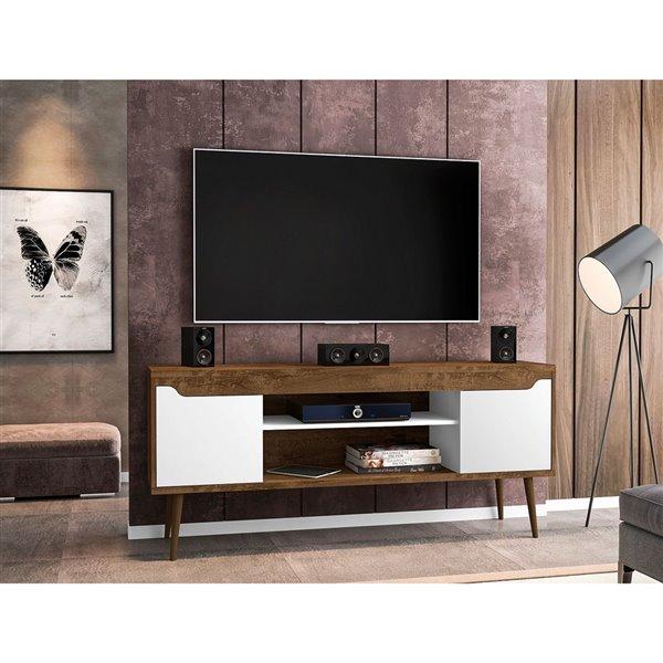 Manhattan Comfort Bradley TV Stand - 62.99-in x 26.57-in - Rustic Brown/White