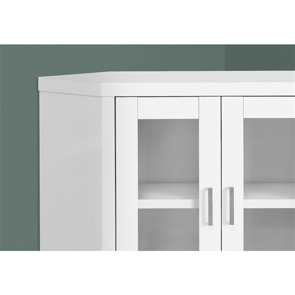 Monarch Corner TV Stand with 2-Shelve - White and Glass Doors - 42-in