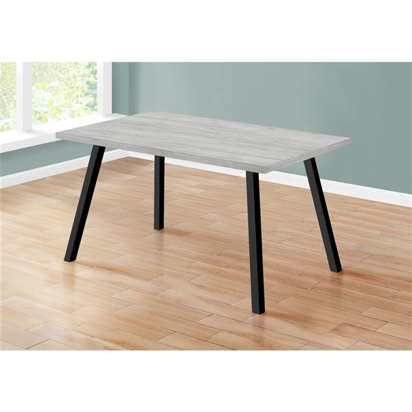 Monarch Dining Table - Grey / Black Metal - 36-in x 60-in