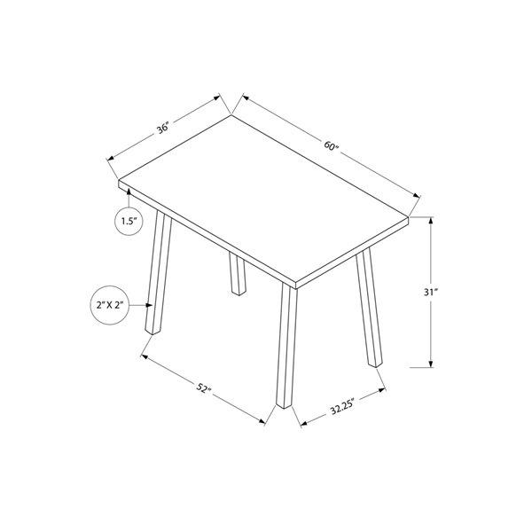 Monarch Dining Table - Black / Black Metal - 36-in x 60-in