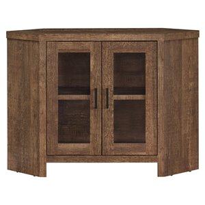 Monarch Corner TV Stand with 2-Shelve - Brown Reclaimed Wood-Look Corner - 42-in