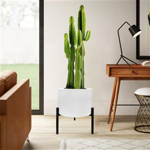Blooms Planter - White and Black Steel stand - 12.6-in x 29-in x 33-in