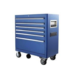 Coffre à outils Toolmaster inférieur à 6 tiroirs, bleu, 20 po x 41.5 po x 29 po