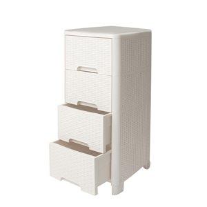 Meuble de rangement Modern Homes à 4 tiroirs style rotin, ivoire, 13 po x 33 po x 15 po