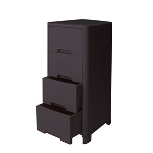 Modern Homes-Rattan Style 4 drawer unit - Brown - 13-in x 33-in x 15-in