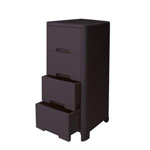 Meuble de rangement Modern Homes à 4 tiroirs style rotin, brun, 13 po x 33 po x 15 po