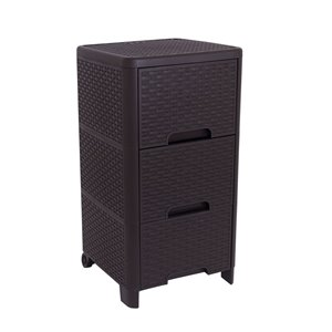 Modern Homes-Rattan Style 3 drawer unit - Brown - 13-in x 25.5-in x 15-in