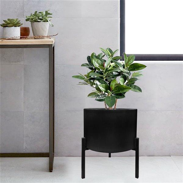 Pot de fleur Blooms noir mat et support en métal noir, 12.6 po x 29 po x 33 po