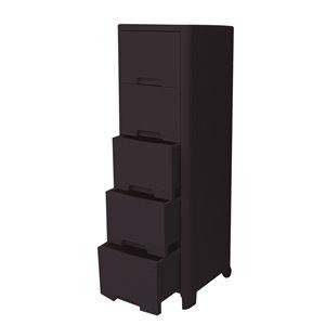 Meuble de rangement Modern Homes à 5 tiroirs style rotin, brun, 13 po x 40 po x 15 po