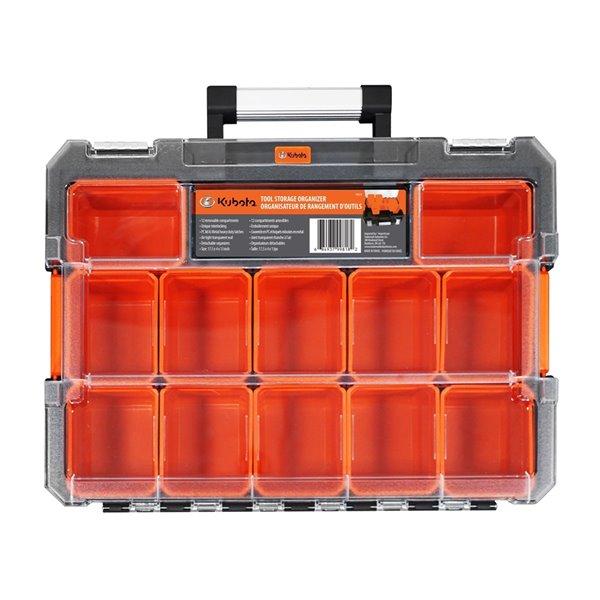 Boîte à outils et organisateur transparent Kubota, orange et noir, 17.25 po x 13 po x 4 po