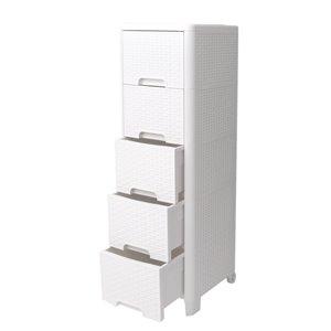 Meuble de rangement Modern Homes à 5 tiroirs style rotin, ivoire, 13 po x 40 po x 15 po