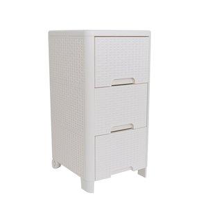 Meuble de rangement Modern Homes à 3 tiroirs style rotin, ivoire, 13 po x 25.5 po x 15 po