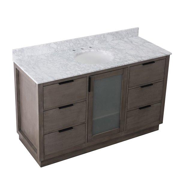 Ensemble meuble lavabo Sunjoy de salle de bain simple ovale couleur frêne foncé, 1 porte / 6 tiroirs, 60 po