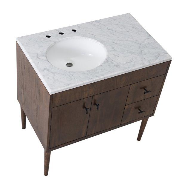 Ensemble meuble-lavabo de salle de bain Sunjoy brun foncé à évier ovale simple, 2 portes / 2 tiroirs, 36 po