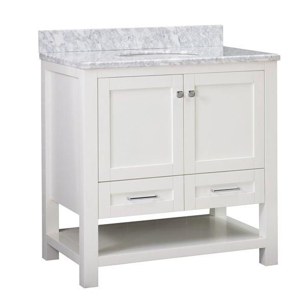 Sunjoy White Single Oval Sink Bathroom Vanity Set - 2-Door/2-Drawer - 36-in  B301008600 RONA