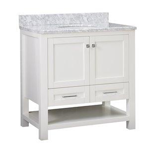 Ensemble meuble-lavabo de salle de bain Sunjoy à évier ovale simple blanc, 2 portes / 2 tiroirs, 36 po