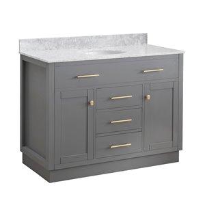 Ensemble meuble-lavabo de salle de bain Sunjoy à évier ovale simple gris , 2 portes/5 tiroirs , 48 po