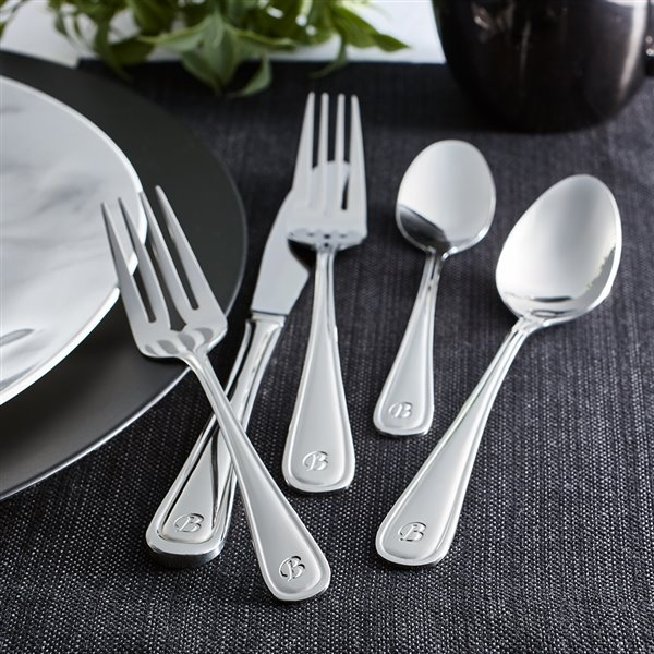 RiverRidge Home Marina Pattern 46-Piece Monogrammed Flatware Set - Letter N -  Stainless Steel