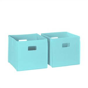RiverRidge Home Folding Storage Bins - Fabric - 10.5-in x 10-in x 10.5-in - Aqua - 2-Pack