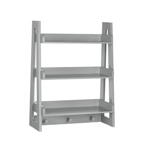 RiverRidge Home Kids Ladder Wall Shelf with Hooks - 8.5-in x 19.81-in x 26-in - Grey