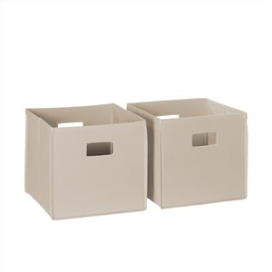RiverRidge Home Folding Storage Bins - Fabric - 10.5-in x 10-in x 10.5-in - Taupe - 2-Pack