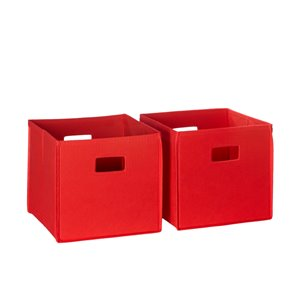 RiverRidge Home Folding Storage Bins - Fabric -10.5-in x 10-in x 10.5-in - Red - 2-Pack