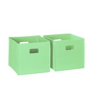RiverRidge Home Folding Storage Bins - Fabric - 10.5-in x 10-in x 10.5-in - Mint - 2-Pack