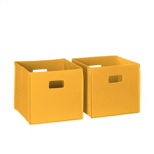 RiverRidge Home Folding Storage Bins - Fabric - 10.5-in x 10-in x 10.5-in - Golden Yellow - 2-Pack