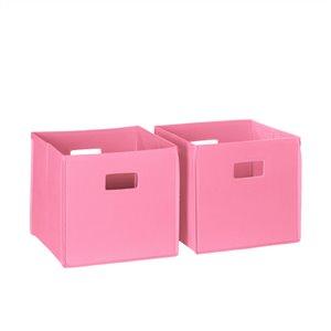 RiverRidge Home Folding Storage Bins - Fabric - 10.5-in x 10-in x 10.5-in - Pink - 2-Pack