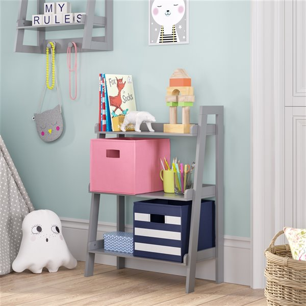RiverRidge Home Kids 3-Tier Ladder Shelf - 11.5-in x 24-in x 32.5-in - Grey
