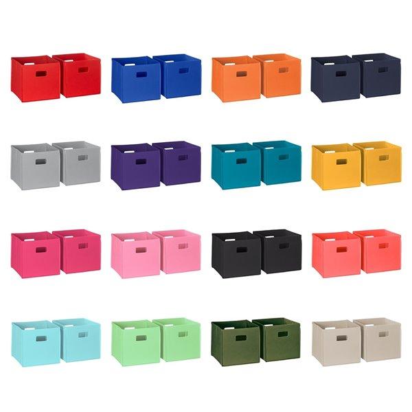 RiverRidge Home Folding Storage Bins - Fabric - 10.5-in x 10-in x 10.5-in - Blue - 2-Pack