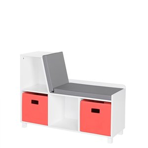 RiverRidge Home Book Nook Kids Storage Bench with Cubbies - 12.38-in x 35-in x 26.5-in - White/Coral Bins