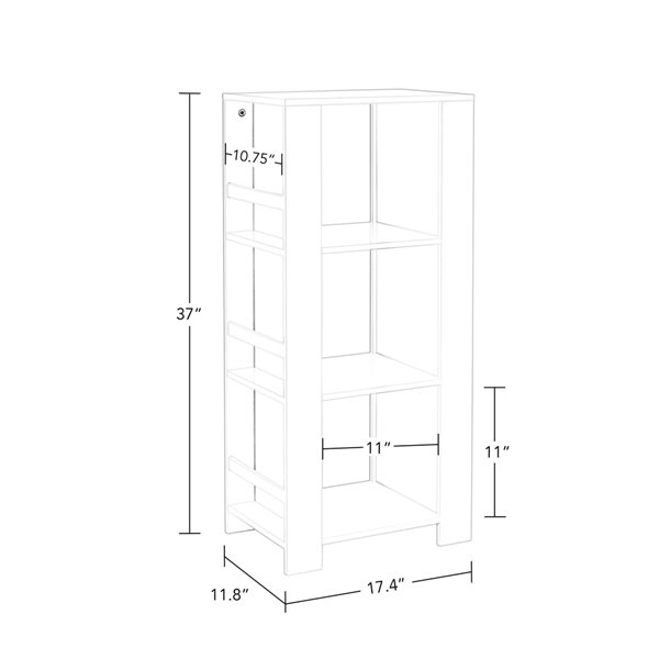 RiverRidge Home Book Nook Kids Cubby Storage Tower with Bookshelves - 17.38-in x 37-in - White/2 Taupe Bins