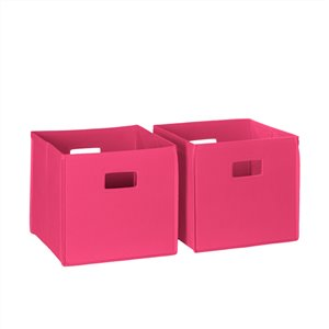 RiverRidge Home Folding Storage Bins - Fabric - 10.5-in x 10-in x 10.5-in - Hot Pink - 2-Pack